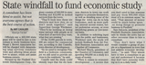 State windfall to fund economic study  9.9.07 penfield post