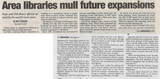 Area libraries mull future expansions  5.8.08 gc post